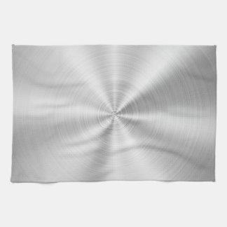 Elegant Faux Metallic Shiny Silver Kitchen Towel
