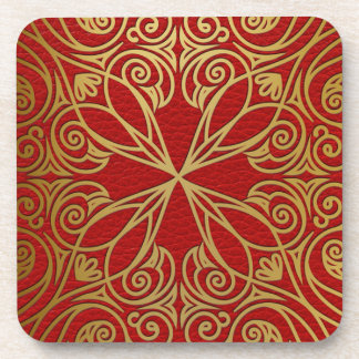 Elegant Faux Red Leather Oriental Gold Swirl Coaster