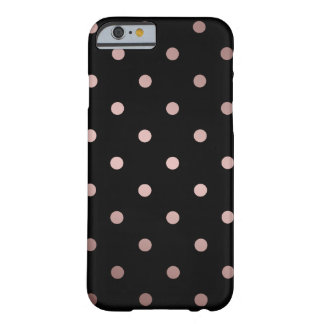 elegant faux rose gold black polka dots barely there iPhone 6 case