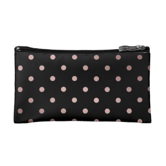 elegant faux rose gold black polka dots cosmetic bag
