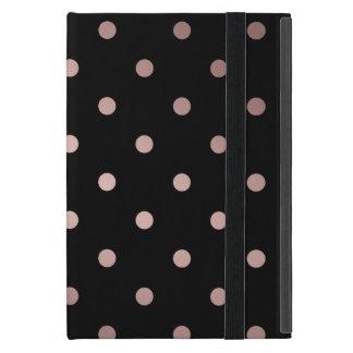 elegant faux rose gold black polka dots iPad mini case