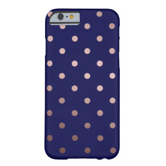 elegant faux rose gold blue polka dots barely there iPhone 6 case