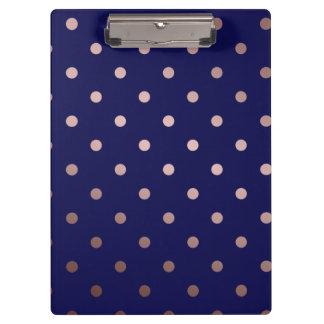 elegant faux rose gold blue polka dots clipboard