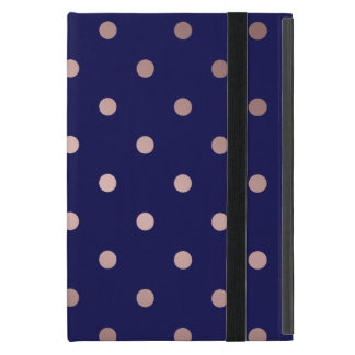elegant faux rose gold blue polka dots iPad mini cover