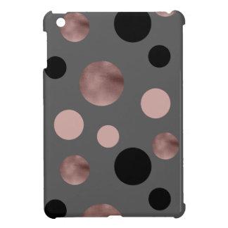 elegant faux rose gold blush pink black circles case for the iPad mini