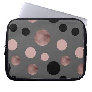 elegant faux rose gold blush pink black circles laptop sleeve