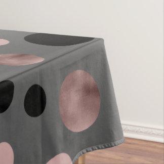 elegant faux rose gold blush pink black circles tablecloth