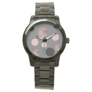 elegant faux rose gold blush pink black circles watch