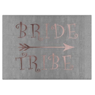 elegant faux rose gold bride tribe design cutting board