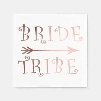 elegant faux rose gold bride tribe design disposable napkin