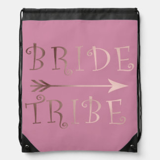 elegant faux rose gold bride tribe design drawstring bag