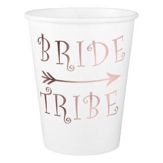 elegant faux rose gold bride tribe design paper cup