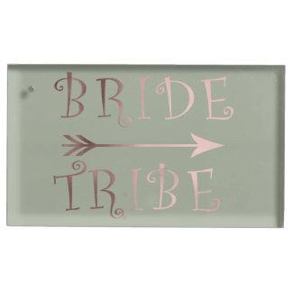 elegant faux rose gold bride tribe design table card holder