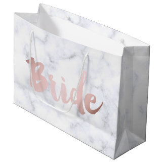 "elegant faux rose gold ""bride"" white marble large gift bag"