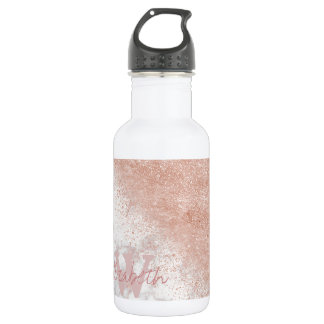 Elegant faux rose gold confetti white marble image 532 ml water bottle