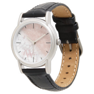 Elegant faux rose gold confetti white marble image watch