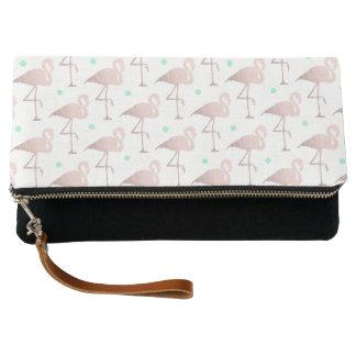 elegant faux rose gold flamingos mint polka dots clutch