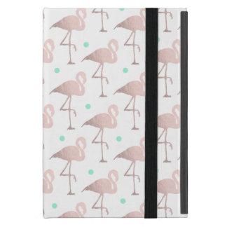 elegant faux rose gold flamingos mint polka dots cover for iPad mini