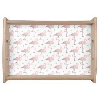 elegant faux rose gold flamingos mint polka dots serving tray