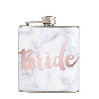 "elegant faux rose gold foil ""bride"" white marble flask"