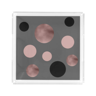 elegant faux rose gold foil pink black circles acrylic tray