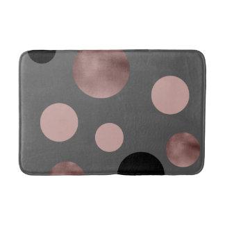 elegant faux rose gold foil pink black circles bath mat