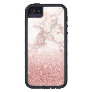 Elegant Faux Rose Gold Glitter White Marble Ombre Case For The iPhone 5