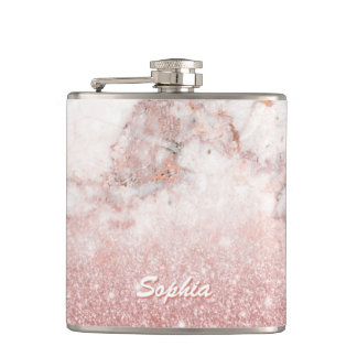 Elegant Faux Rose Gold Glitter White Marble Ombre Hip Flask