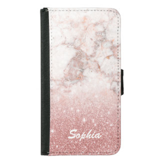 Elegant Faux Rose Gold Glitter White Marble Ombre Samsung Galaxy S5 Wallet Case