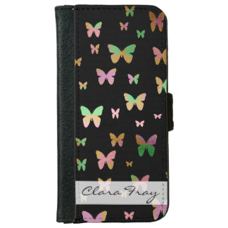 elegant faux rose gold gold butterfly pattern iPhone 6 wallet case
