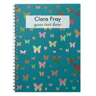 elegant faux rose gold gold butterfly pattern notebook