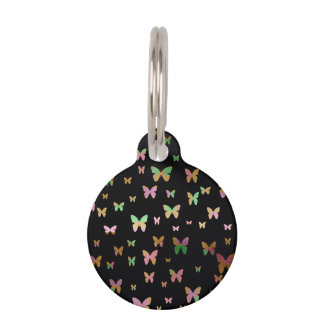 elegant faux rose gold gold butterfly pattern pet name tag