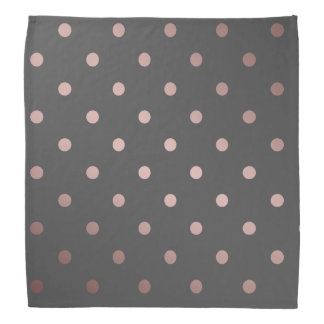 elegant faux rose gold grey polka dots bandana