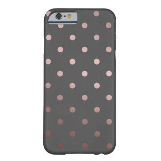 elegant faux rose gold grey polka dots barely there iPhone 6 case