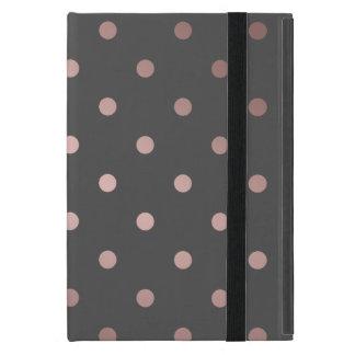elegant faux rose gold grey polka dots case for iPad mini