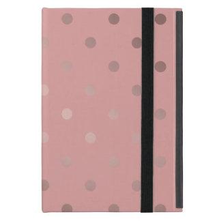 elegant faux rose gold pink polka dots iPad mini cover
