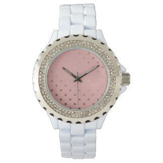 elegant faux rose gold pink polka dots watch