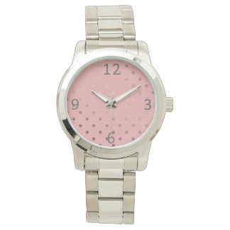 elegant faux rose gold pink polka dots watch