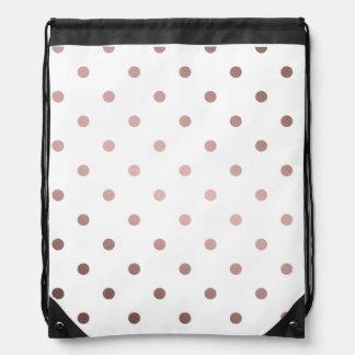 elegant faux rose gold polka dots drawstring bag