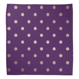 elegant faux rose gold purple polka dots bandana