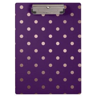 elegant faux rose gold purple polka dots clipboard