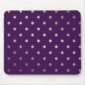 elegant faux rose gold purple polka dots mouse pad