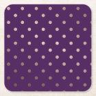 elegant faux rose gold purple polka dots square paper coaster