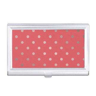 elegant faux rose gold red polka dots case for business cards