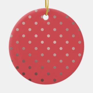 elegant faux rose gold red polka dots ceramic ornament