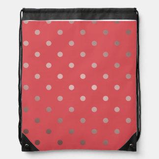 elegant faux rose gold red polka dots drawstring bag