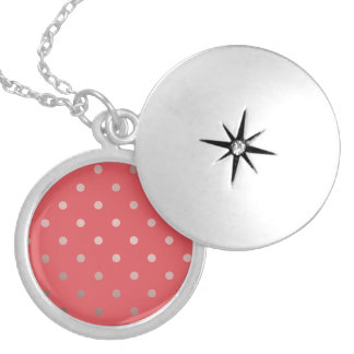 elegant faux rose gold red polka dots silver plated necklace