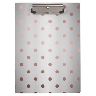 elegant faux rose gold silver polka dots clipboard