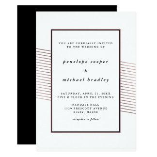 Elegant Faux Rose Gold Stripes Wedding Card