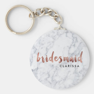 elegant faux rose gold white marble bridesmaid keychain